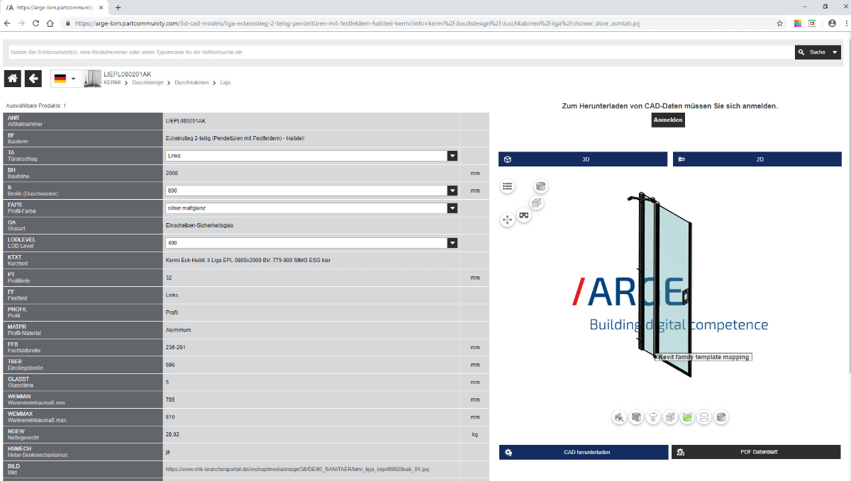 ARGE BIM-Portal - Produkte der ARGE-Mitglieder in 40 verschiedenen Exportformaten zum Download