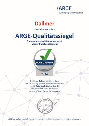 DALLMER: Dallmer mit ARGE-Qualitätssiegel ausgezeichnet