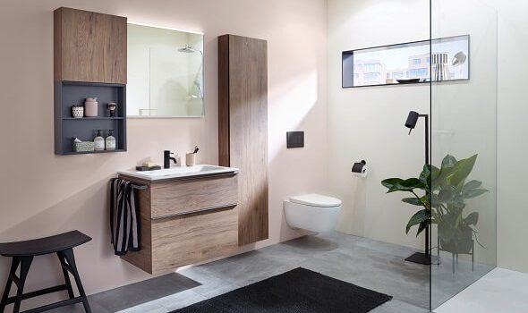 Geberit: Modulares Möbelkonzept, innovative Montagetechnik Die Komplettbadserie Geberit iCon mit neuem Design- und Funktions-Update